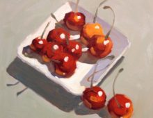 Cherries on Square White