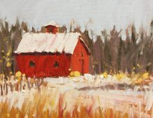 Red Barn on White